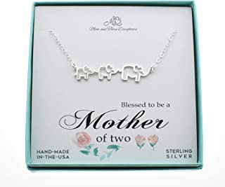 Woman's Mom and Two Baby Elephants Charm Pendant in Sterling Silver on an 18