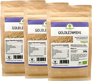 Goldleinmehl, Leinmehl aus Goldleinsaat, Leinsamenmehl, Bio, 3er Pack 3 x 500 g