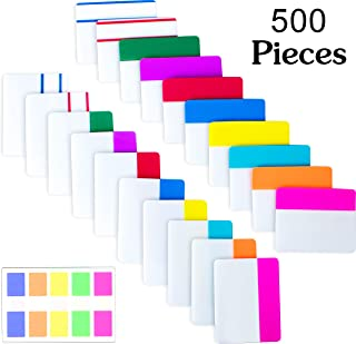 500 Pieces Tabs 2 Inch Sticky Index Tabs, Writable and Repositionable File Tabs Flags Colored Page Markers Labels for Reading Notes, Books and Classify Files, 21 Sets 10 Colors (2 inch)