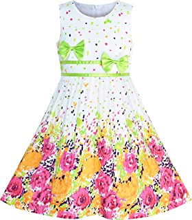 8e0e88ba9f01e Sunny Fashion Robe Fille Pourpre Rose Fleur Double Nœud Papillon Partie  Enfants Robe d été