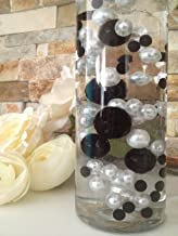 Vase Filler Pearls For Floating Pearl Centerpieces, 80 Black & White Jumbo & Mix Size Pearls, (Transparent Gel Beads Required To Create Floating Pearls Sold separately)