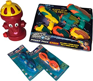 Water Guns for Kids, 6 Pack for Kids with Fire Hydrant Style Water Sprinkler for Kids and 2 Pairs of Kids Swimming Goggles - Summer Fun Bundle Set.
