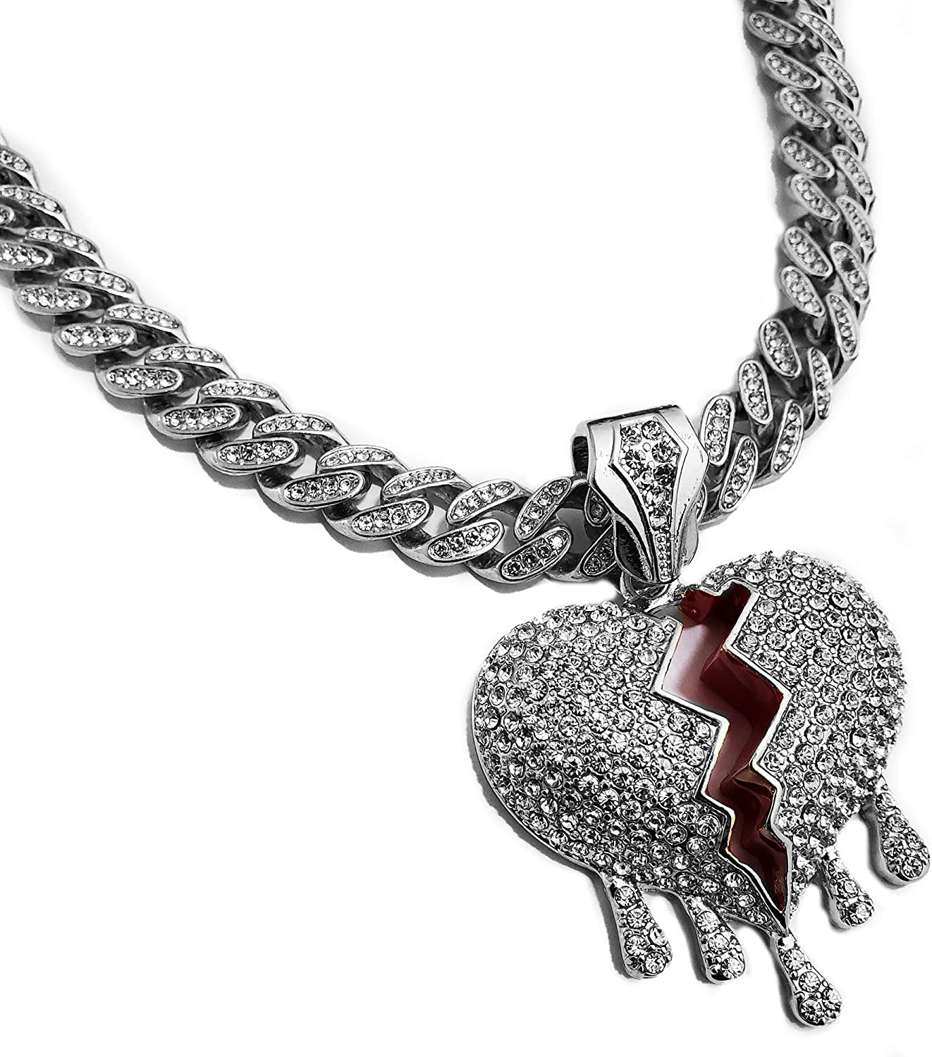 White Gold Plated Large Broken Heart Drip Pendant & 12mm 16