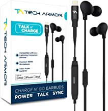 Tech Armor [Apple MFi Certified] 8-pin Lightning Earbuds w/Extra Charge Port, Inline Microphone for Apple iPhone/iPad