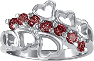 ArtCarved Family Love Sterling Silver Simulated Birthstone Ring