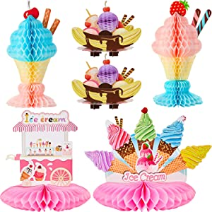 6 Pieces Ice Cream Centerpiece Ice Cream Cart Centerpiece Banana Split Centerpieces Ice Cream Decorations for Ice Cream Theme Party Birthday Baby Shower Party Supplies