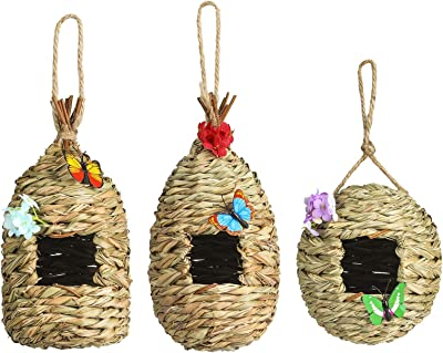 NEKLJJ Hummingbird House for Outside Bird House for Outdoors Hanging Set of 3 Bird Nest for Outside Decorations with Fake Flowers and Artificial Butterfly