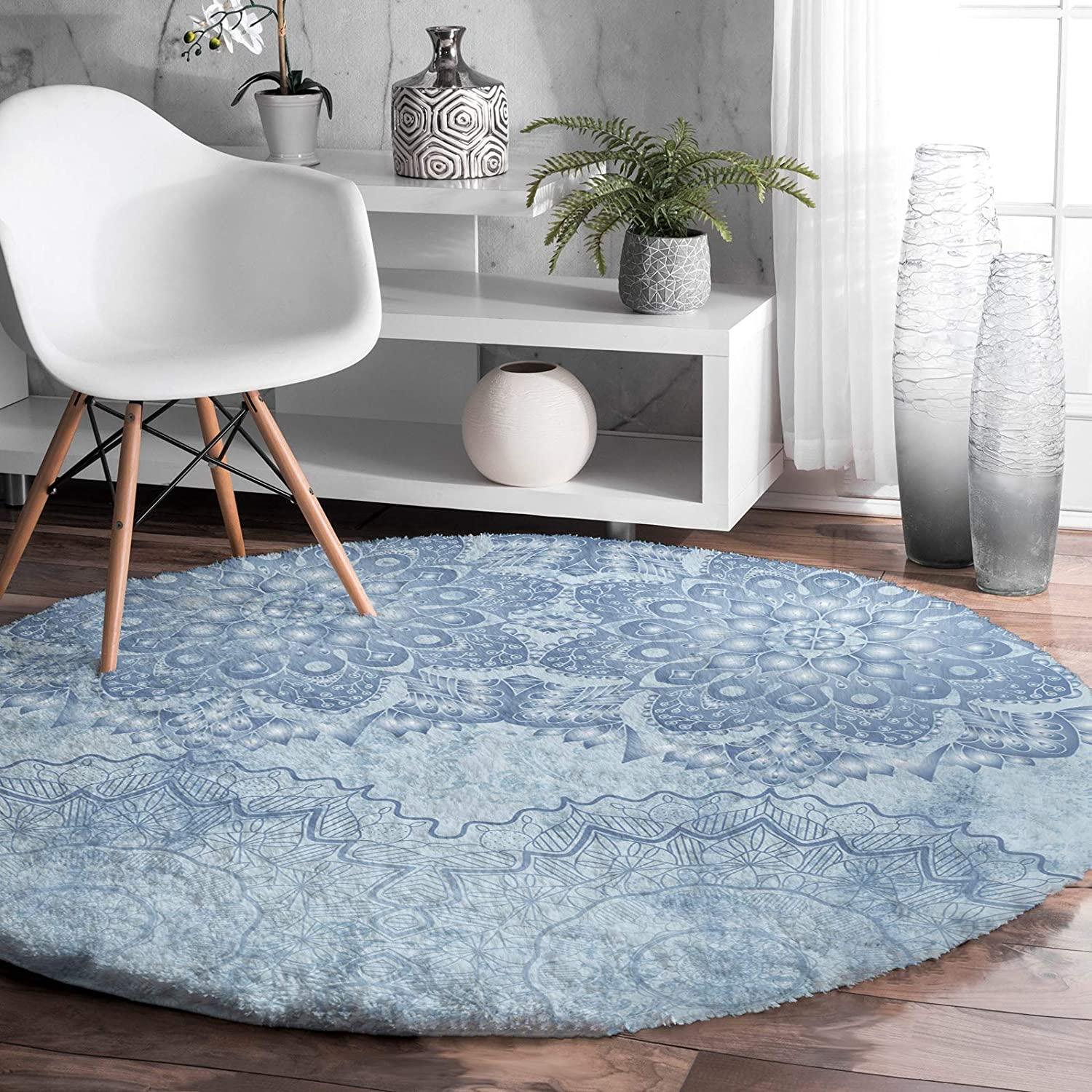Prime 40% OFF Cheap Sale Leader Round Rug for Bedroom Flower Mandala Louisville-Jefferson County Mall F Blue Vintage