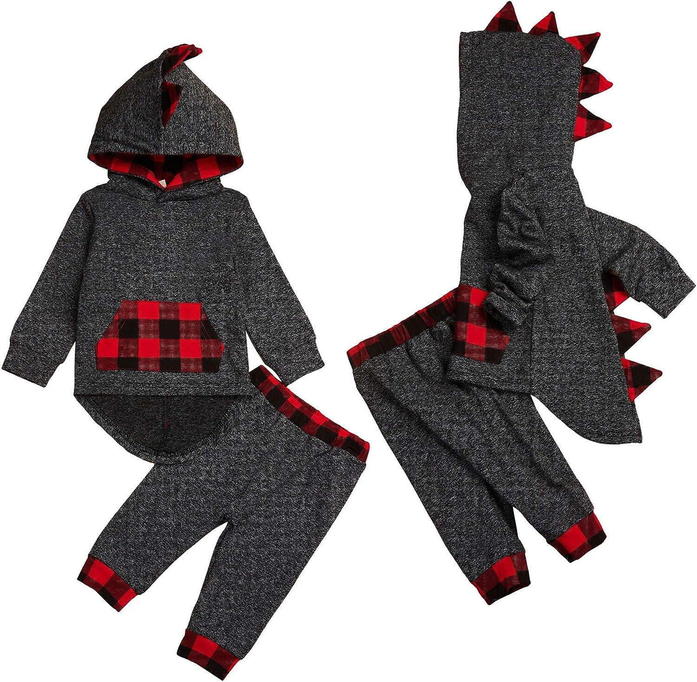 Infant Baby Boy Dinosaur Outfits Plaid Hoodie Pocket Sweatshirt+Long Pants 2Pcs Fall Winter Clothes