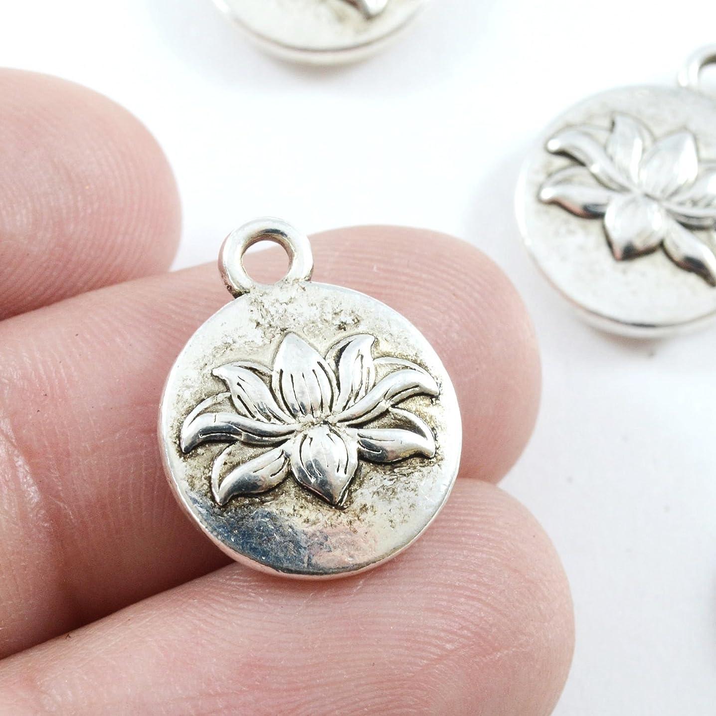 11 pcs Lotus Pendant Antique Silver Lotus Flower 14x10mm (NS773)