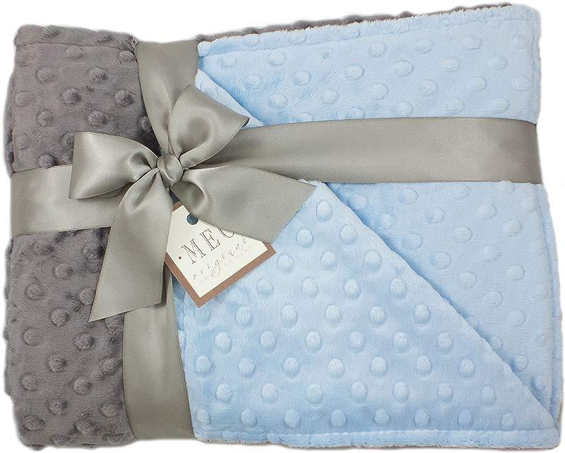 MEG Original Blue Charcoal Gray Minky Dot Baby Boy Toddler Crib Blanket 6781