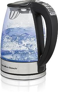 Hamilton Beach Temperature Control Glass Electric Tea Kettle, Water Boiler & Heater, 1.7L, Cordless, LED Indicator, Keep W...
