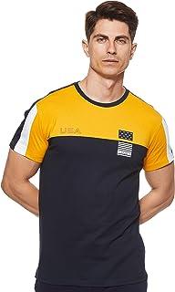 Octave Men's Sinker Mixmatch Round Neck T-Shirt, Mustard