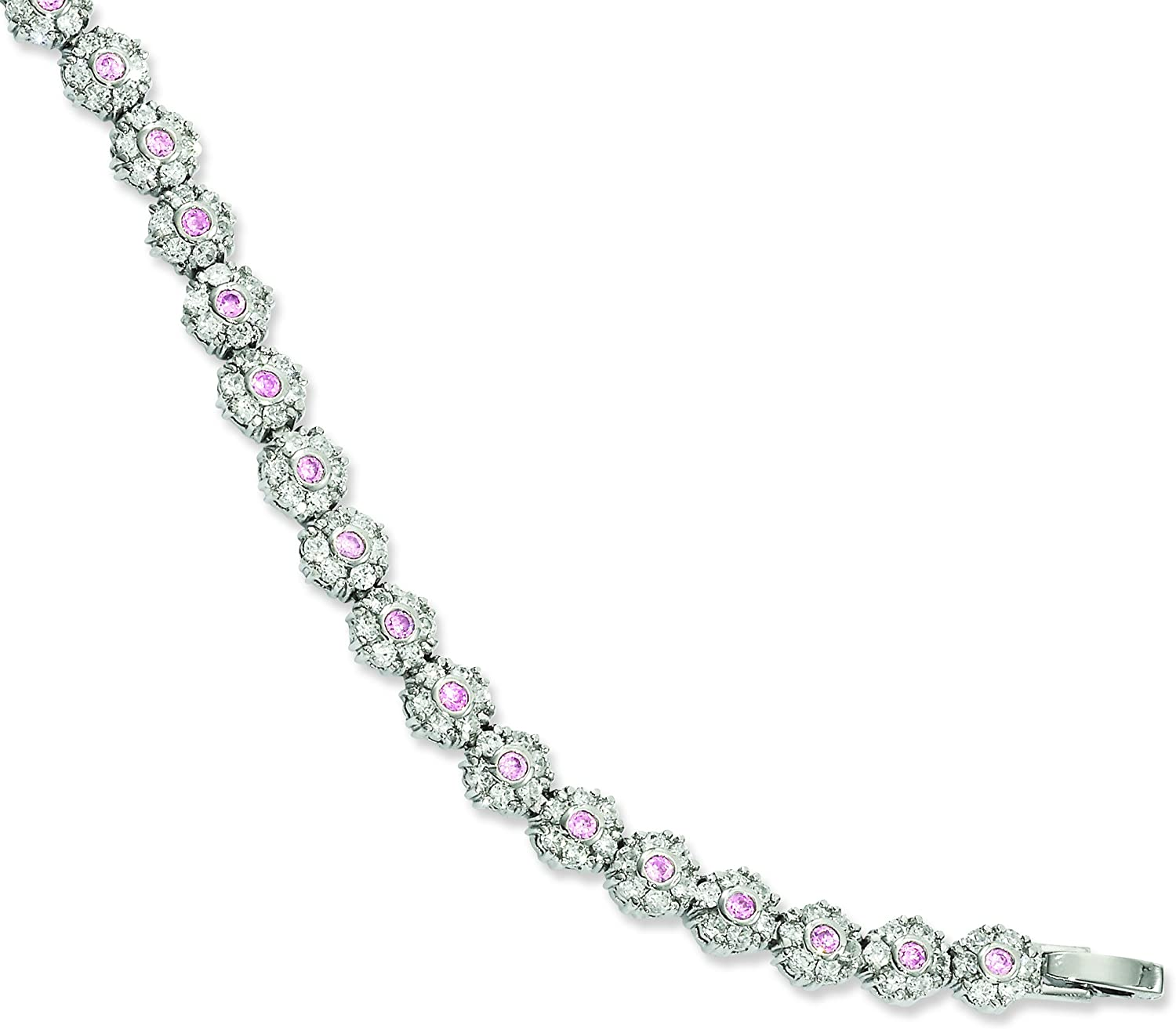 8.25in Rhodiumplated Pink and White CZ Flower Bracelet