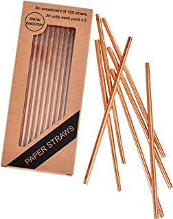 125 PCS Rose Gold Paper Straws Biodegradable Metallic Drinking Decorative Eco Friendly - Boxed 5 Individual Packs of 25 Units