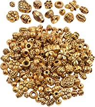 BronaGrand 100 Gram(About 150-200pcs) Antique Gold Spacer Beads Charm Bead Spacers Jewelry Findings Accessories for Bracelet Necklace Jewelry Making