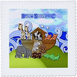 3dRose Animals on Ark, Baby Shower, Block Font - Quilt Square, 6 by 6-Inch (qs_195847_2)