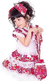 天使のドレス屋さん 浴衣 浴衣ドレス5点セット 可愛さ際立つ和柄&レース袖なし浴衣ドレス