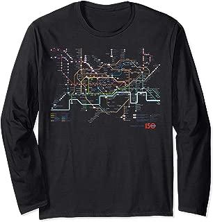 London Tourist Metro British Underground Tube Map T Shirt Long Sleeve T-Shirt
