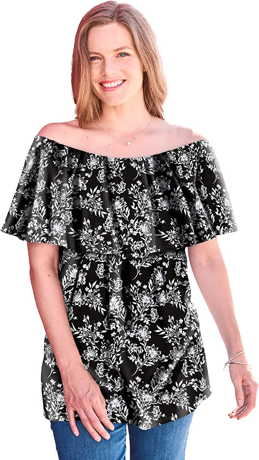 Woman Within Women's Plus Size Off-The-Shoulder Ruffled Tee Shirt