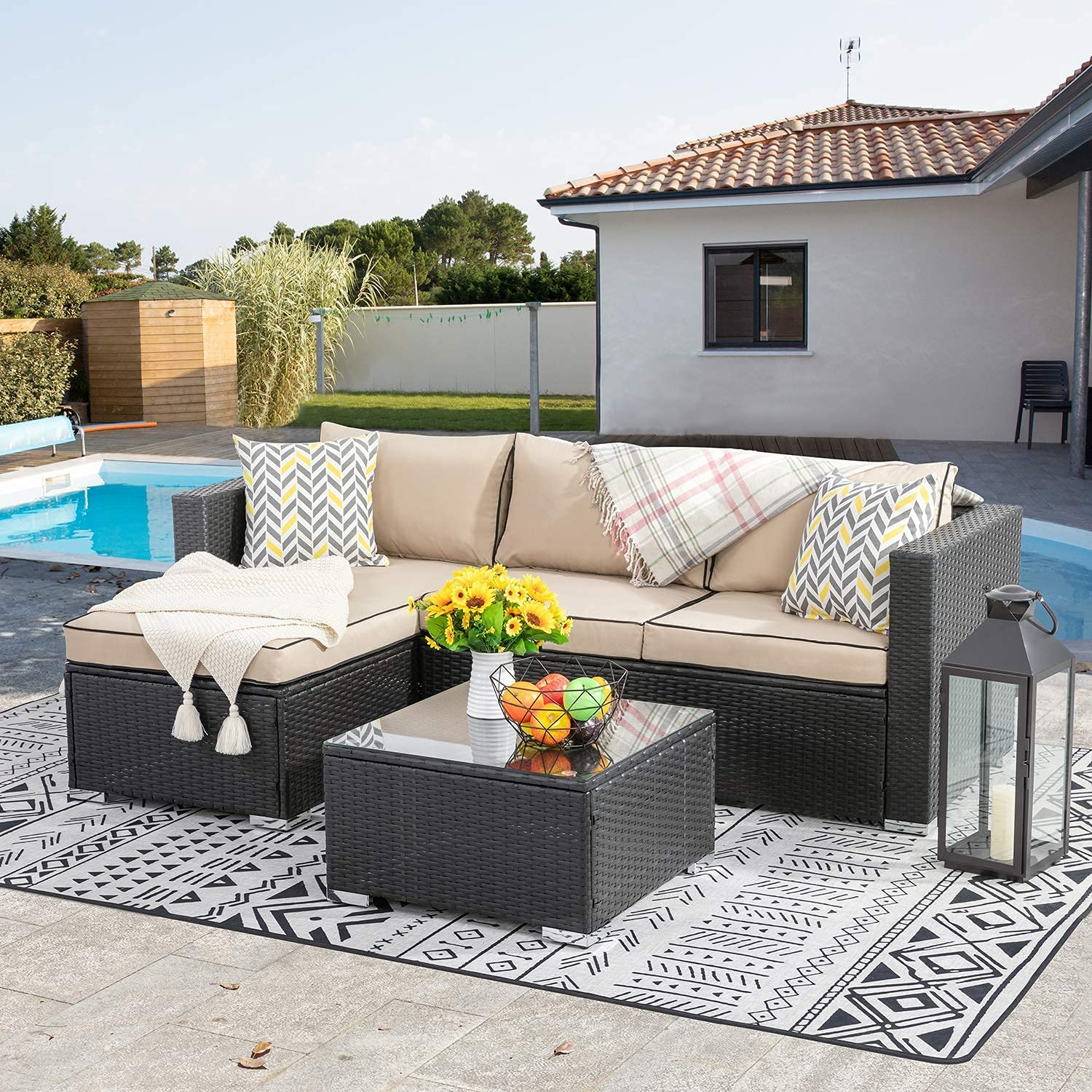 Walsunny 3 Piece 5 ☆ popular Outdoor Furniture Sectional with Sofa Cheap mail order sales Set Patio