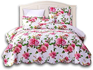 DaDa Bedding Romantic Roses Bedspread - Lovely Spring Pink Floral Scalloped Colorful - Bright Vibrant Quilted Coverlet Set - King - 3-Pieces