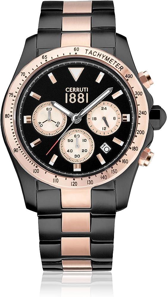 Cerruti 1881,orologio,cronografo per uomo,in acciaio inossidabile bicolore CRA083D221G