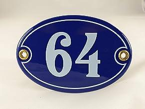 Emaille huisnummer bord nr. 64, ovaal, blauw-wit Nr. 64 Blau-Weiß + Schrauben und Dübel