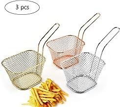 Rameng Mini Panier /à Frites Rond en Acier Inonxydable Panier de Service Cuisine Outil pour Chips Frites