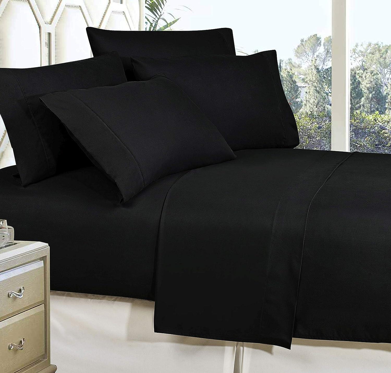 Elegance Linen Full Black Wrinkle Resistant Luxury 6 Piece Bed Sheet Set