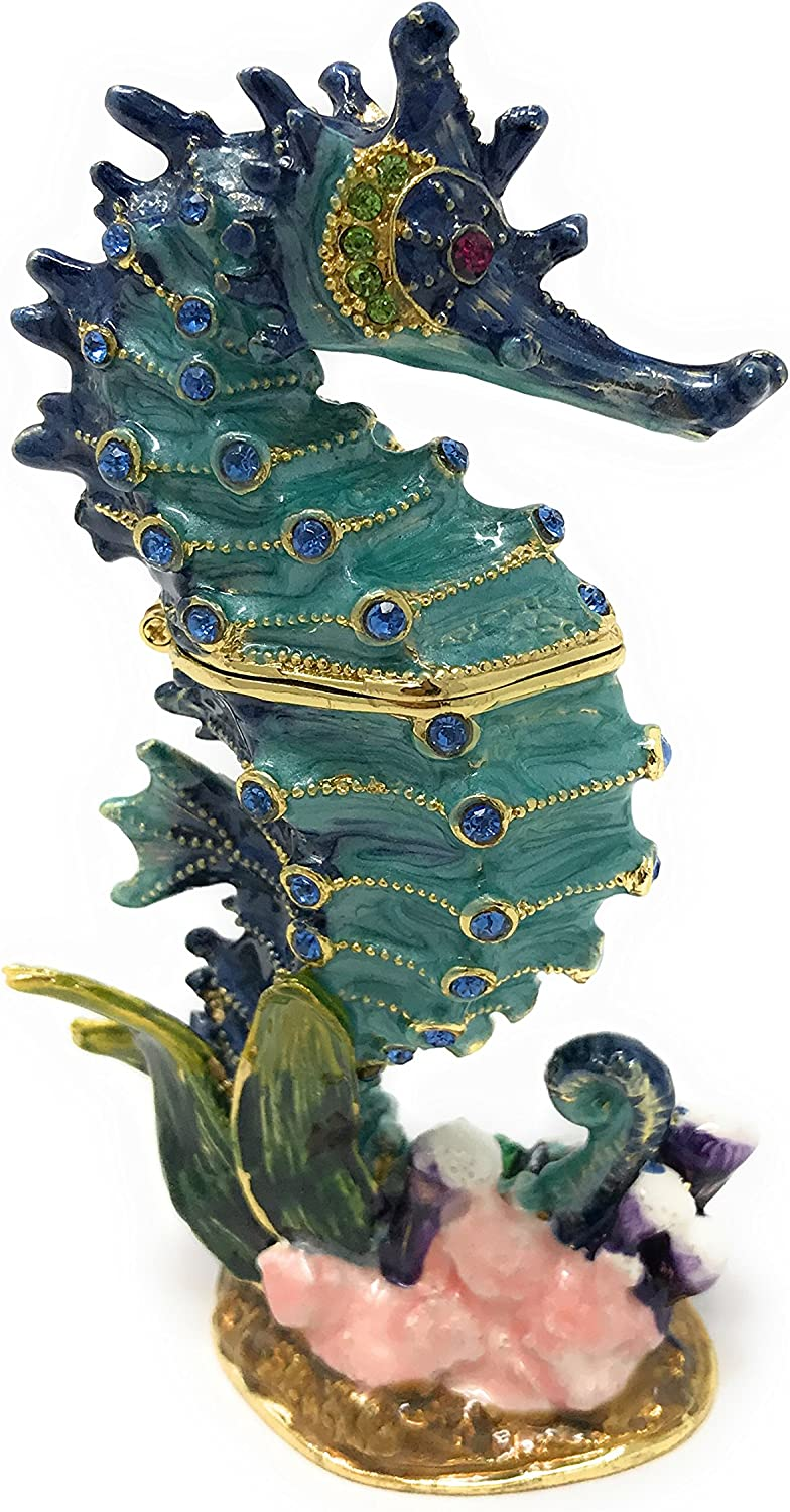 Kubla Craft Enameled Blue Seahorse Au Accented with Trinket Box Al Miami Mall sold out.