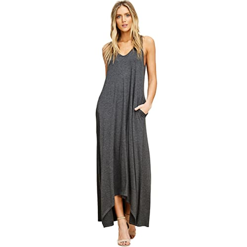 8147feb97bc Annabelle Women s Casual V Neck Sleeveless Tank Top Long Maxi Dresses with  Pockets