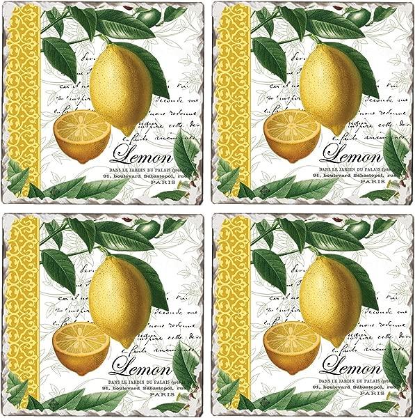 Cala Home Set Of 4 Tumbled Tile Coasters Citron
