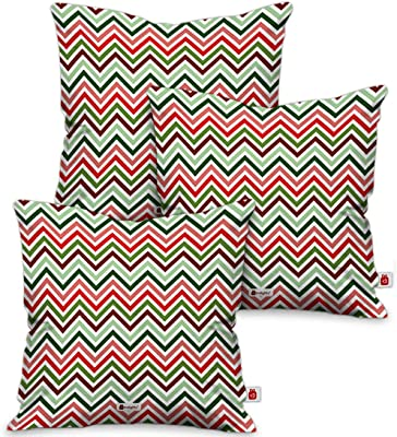 Indigifts Christmas Decorations for House Zig-Zag Geometric Pattern Printed Multi Set of 3 Cushion Cover 18x18 inches - Christmas Cushion, Xmas Decorations, Christmas Gifts, Christmas Pillow