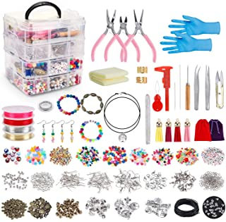 Jewellery Making Kit,Jewellery Making Supplies Includes Jewellery Pliers, Beading Wire, Jewellery Beads and Charms Finding...