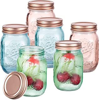 Vastto 15 Ounce Chromatic Engraved Mason Jar with Lid and Band,Set of 6 (Bright-hued)
