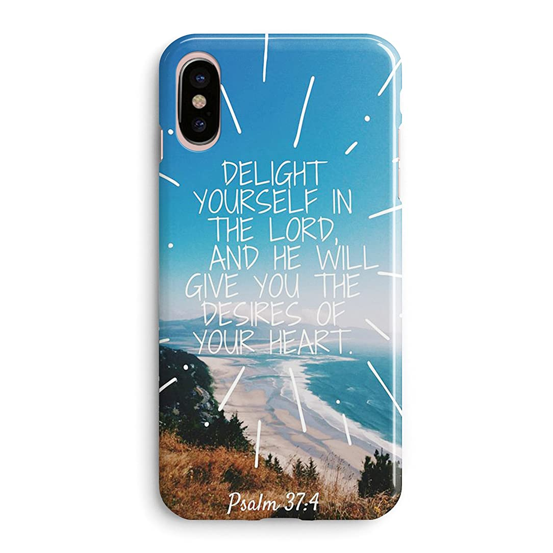 Compatible iPhone X Case Girls Women Life Power Cute Flowers Christian Bible Verses Quotes Psalm 37:4 Delight Yourself Lord Will Give You The Desires Your Heart Soft Clear Side iPhone X/Xs Case