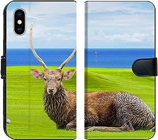 Liili Premium iPhone XS Flip Micro Fabric Wallet Case Chital Deer Spotted Deer Axis Deer on Green Image ID 39491092