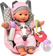 Baby Doll Car Seat with Toy Accessories, Includes 12 Inch Soft Body Doll, Booster Seat..