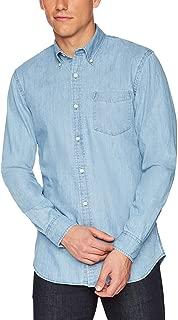 INVACHI Men's Slim fit Long Sleeve Solid Denim Shirt