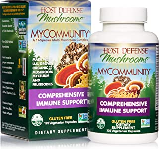 Host Defense, MyCommunity Capsules, Advanced Immune Support, Mushroom Supplement with Lion's Mane, Reishi, Vegan, Organic, Gluten Free, 120 Capsules (60 Servings)