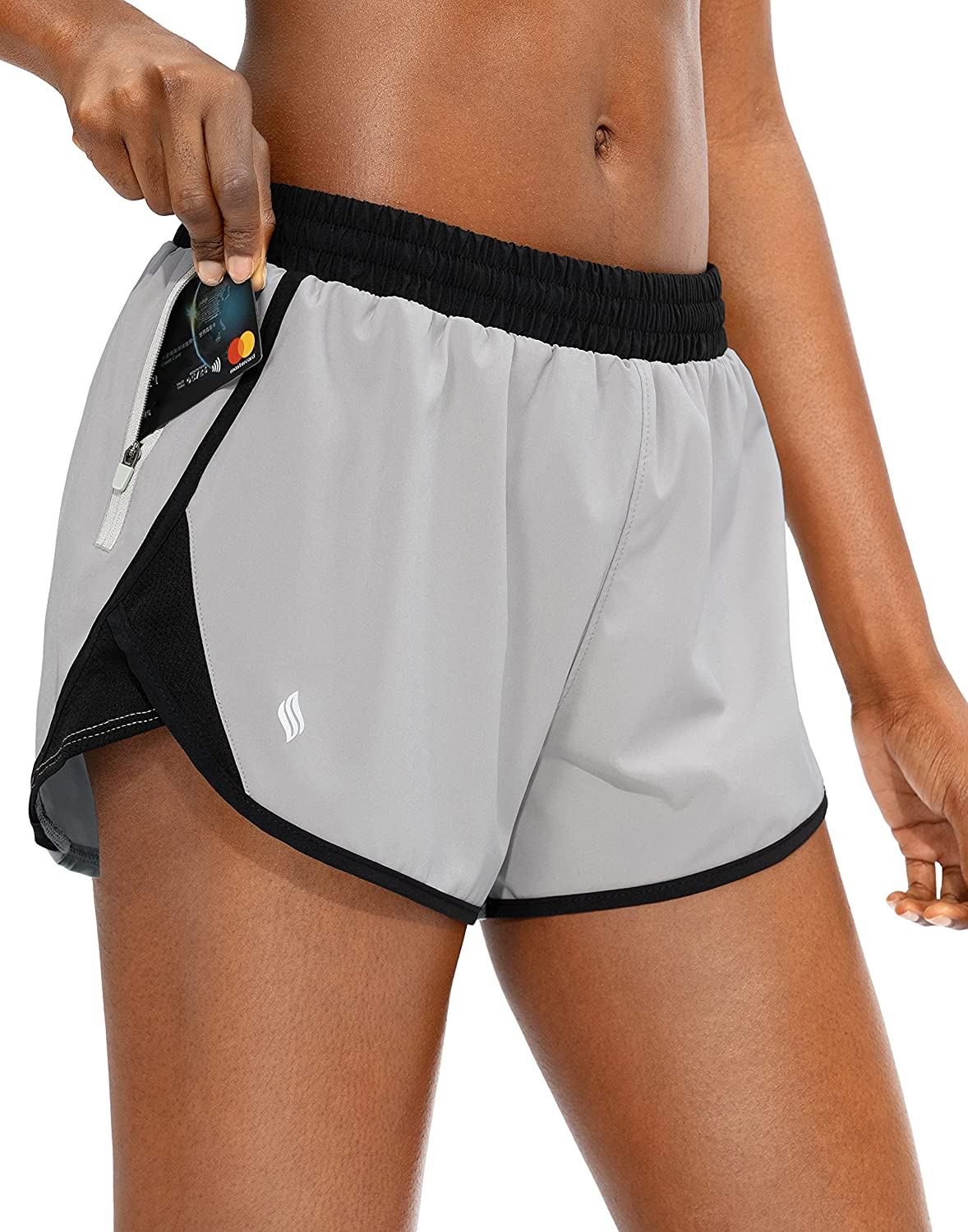 SANTINY Women's wholesale Running Shorts with Animer and price revision Dry Zipper Quick Pocket Athl
