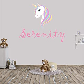 Personalized Girl's Name Unicorn Wall Decal, Choose Your Own Name And Letter Style, Multiple Sizes, Unicorn Wall Decor, Unicorn Wall Sticker Decor, Girl's Name Wall Decal, Girl's Nursery Wall Decor
