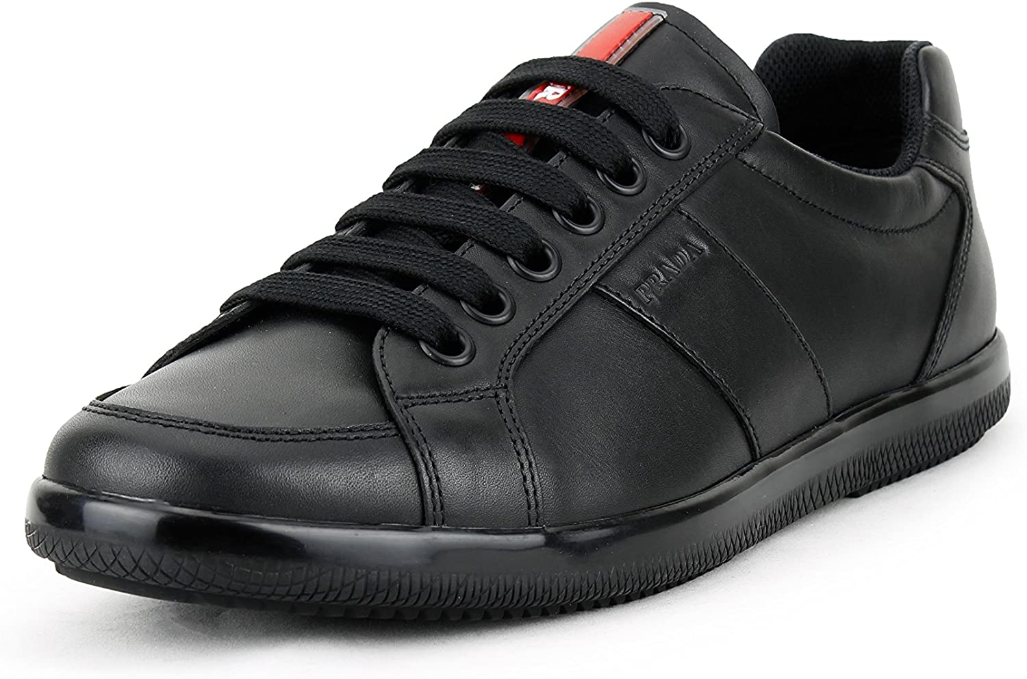 Prada Men's Plume Calf Leather Low-top Trainer Sneaker, Black (black) 4E2845