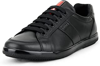 48eea2f21 Prada Men's Plume Calf Leather Low-top Trainer Sneaker, Black (Nero) 4E2845