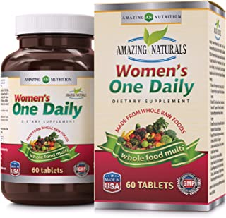 Amazing Naturals WOMEN'S ONE DAILY Multivitamin * Best Raw Whole Food Multivitamins For Women * 60 Tablets Per Bottle * Packed With The Goodness Of Over 30 Organic Vegetables And Fruits That Provide O