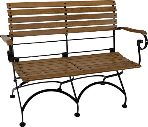 lowest Sunnydaze European Chestnut Wooden Folding Bench with high quality Arms - 2-Person Portable Seat - Patio, Deck, Balcony, Camping and Porch discount - Indoor/Outdoor Seating online sale