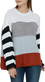 JOKHOO Women's Casual Crew Neck Color Block Knit Pullover Sweater Long Sleeve Jumper Tops
