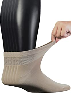 Men's 6 Pairs Combed Cotton Diabetic Ankle Socks with Seamless Toe and Non-Binding Top