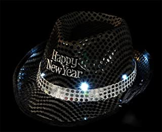 LED Happy New Year Light up Sequin Fedora Hat Party Costume Accessory RM1287